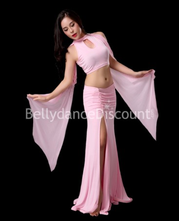 Light pink Bellydance costume in net fabric