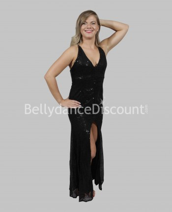 Bellydance dress black with glitters