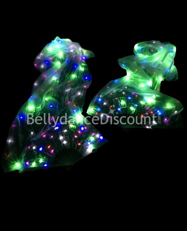 Light-up Bellydance multicolor fans 100% silk with LED lights