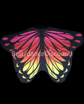 Butterfly wings pink red yellow