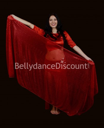 Shiny red rectangular Bellydance Veil