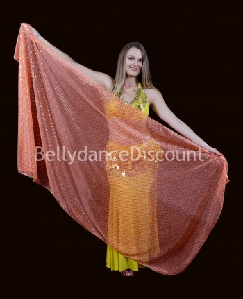 Voile rectangulaire de danse orientale scintillant orange