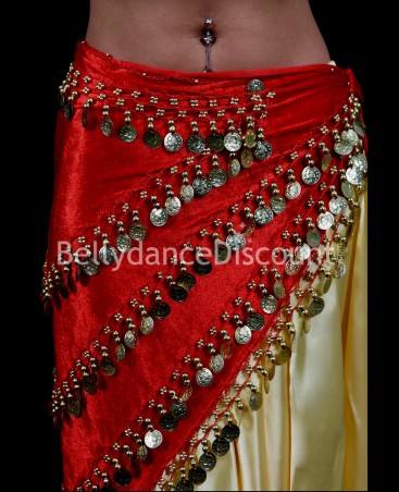 Long red velvet Bellydance scarf with gold sequins