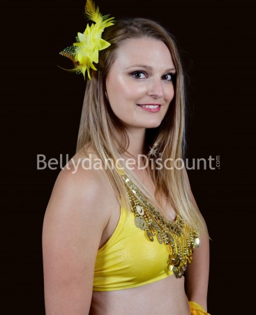 Yellow oriental dance hairpiece