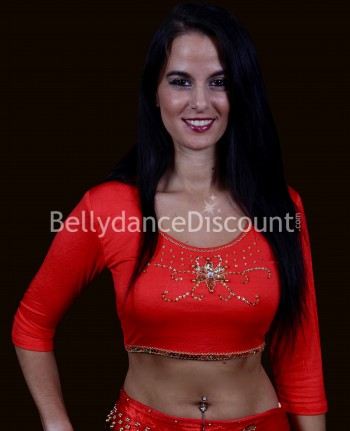 Top para danza del vientre y Bollywood rojo