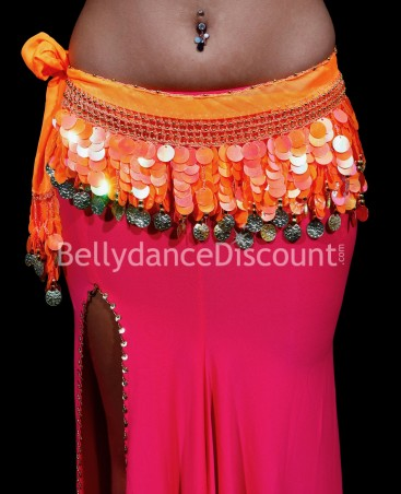 Bellydance belt with coins orange
