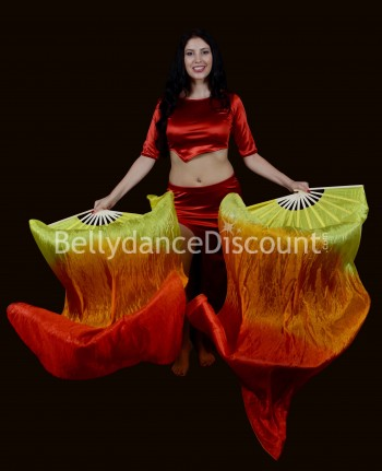Paire d'éventails de danse orientale pure soie jaune orange rouge